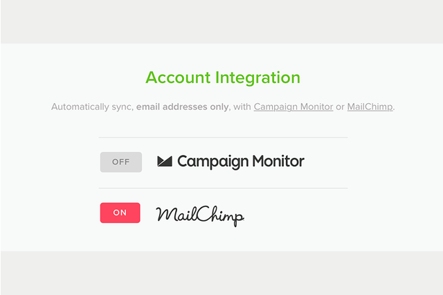 Connect and automatically sync email addresses with MailChimp